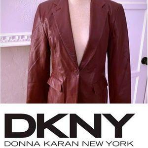 DKNY Red Leather Blazer